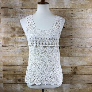 American Rag Cream Crochet Sleeveless Blouse Sz S